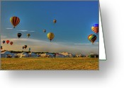 Balloon Fest Greeting Cards - Morning Colors Greeting Card by David Hahn