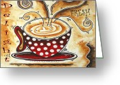 Latte Digital Art Greeting Cards - Morning Delight Original Painting MADART Greeting Card by Megan Duncanson