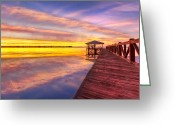 Florida Bridges Greeting Cards - Morning Dock Greeting Card by Debra and Dave Vanderlaan