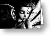 Hob Greeting Cards - Morning Fairy BW Greeting Card by Alexander Butler