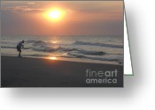 Surf Fishing Photo Greeting Cards - Morning Fisherman Greeting Card by Deborah M Roberts