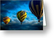 Hot Air Balloon Photo Greeting Cards - Morning Flight Hot Air Balloons Greeting Card by Bob Orsillo