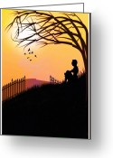 Contemplation Digital Art Greeting Cards - Morning Glory Greeting Card by Mary Morawska