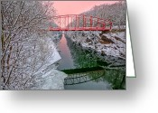 Connecticut Winter Scene Greeting Cards - Morning Glow Greeting Card by Bill  Wakeley