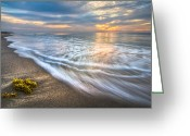 Seafoam Greeting Cards - Morning Glow Greeting Card by Debra and Dave Vanderlaan