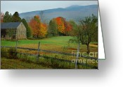 New England Autumn Greeting Cards - Morning Grove - New England Fall Monadnock farm Greeting Card by Jon Holiday