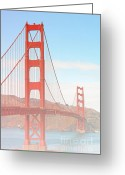 Suspension Bridge Greeting Cards - Morning has broken - Golden Gate Bridge San Francisco Greeting Card by Christine Till