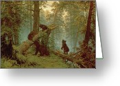 Cubs Painting Greeting Cards - Morning in a Pine Forest Greeting Card by Ivan Ivanovich Shishkin