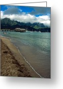 Landscapes Framed Prints Greeting Cards - Morning in Hanalei Bay Greeting Card by Kathy Yates
