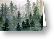 Pine Trees Painting Greeting Cards - Morning in the Mountains Greeting Card by Shana Rowe