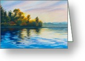 Dawn Drawings Greeting Cards - Morning Lake Greeting Card by Anna Abramska
