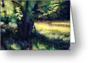 Woods Pastels Greeting Cards - Morning Light Greeting Card by Deb LaFogg-Docherty