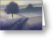 Old Barn Pastels Greeting Cards - Morning Mist Greeting Card by Garry McMichael