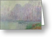 Pond Painting Greeting Cards - Morning Mist Greeting Card by Gustave Loiseau