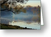 Erie Barge Canal Greeting Cards - Morning Mist Greeting Card by Heather Maitland-Schmidt