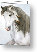 Running Horse Greeting Cards - Morning Mist Greeting Card by Pat Erickson