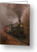 Engines Greeting Cards - Morning Mist Soo Line 1003 Greeting Card by Tom Shropshire