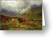 Horns Painting Greeting Cards - Morning Mists Greeting Card by Louis Bosworth Hurt