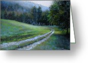 Romantic Pastels Greeting Cards - Morning on Blue Mountain Road Greeting Card by Susan Jenkins
