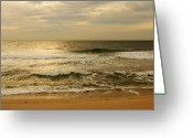 Gold Photo Greeting Cards - Morning On The Beach - Jersey Shore Greeting Card by Angie McKenzie