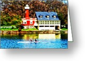 Rowing Crew Greeting Cards - Morning on the Schuylkill River Greeting Card by Bill Cannon