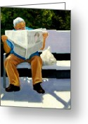 Bench Greeting Cards - Morning Paper Greeting Card by Joyce Geleynse