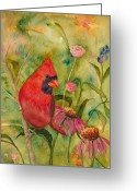 Red Bird Greeting Cards - Morning Perch in Red Greeting Card by Renee Chastant