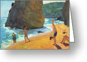 Sunbathing Greeting Cards - Morning Platja dos Rosais Costa Brava Greeting Card by Andrew Macara