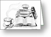 Pencil Drawing Digital Art Greeting Cards - Morning Ritual Greeting Card by Arline Wagner