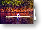 Rowing Crew Greeting Cards - Morning Row Greeting Card by Bill Cannon