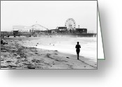 Runner Greeting Cards - Morning Run Greeting Card by John Rizzuto