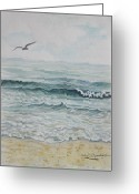 South Carolina Beach Painting Greeting Cards - Morning sea South Carolina Greeting Card by Judy Riggenbach