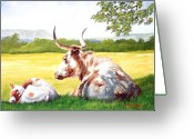 Cow Greeting Cards - Morning Solitude Greeting Card by Howard Dubois