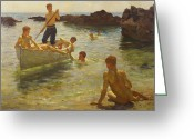 Rowboat Greeting Cards - Morning Splendour Greeting Card by Henry Scott Tuke