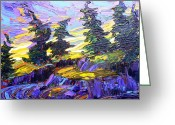 Pine Trees Painting Greeting Cards - Morning Stretch 2011 Greeting Card by Jill PRICE
