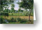 Pisarro Greeting Cards - Morning Sunlight Effect at Eragny Greeting Card by Camille Pissarro