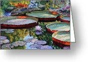 Pond Painting Greeting Cards - Morning Sunlight on Fall Lily Pond Greeting Card by John Lautermilch