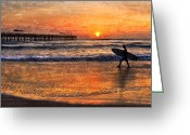 Surf Silhouette Greeting Cards - Morning Surf Greeting Card by Debra and Dave Vanderlaan