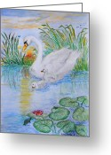 Pads Drawings Greeting Cards - Morning Swim II  Edited Original Art Greeting Card by Debbie Portwood