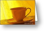 Teacup Digital Art Greeting Cards - Morning Teacup Greeting Card by Jacqueline Milner