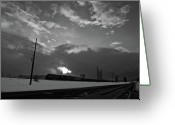 Flurries Greeting Cards - Morning Train in Black and White Greeting Card by Scott Sawyer
