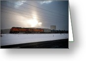 Flurries Greeting Cards - Morning Train Greeting Card by Scott Sawyer