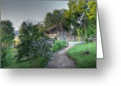 Log House Greeting Cards - Morning Walk Greeting Card by Todd Hostetter