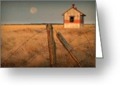 Barbed Wire Fences Photo Greeting Cards - Mornings Calm Greeting Card by Al  Swasey