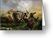 Fighting Painting Greeting Cards - Moroccan horsemen in military action Greeting Card by Ferdinand Victor Eugene Delacroix