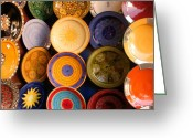 Handicraft Greeting Cards - Moroccan Pottery on display for sale Greeting Card by Ralph Ledergerber