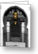 Travelpixpro Greeting Cards - Moroccan Style Doorway Lamps Courtyard and Fountain Color Splash Black and White Greeting Card by Shawn OBrien