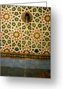 Zelij Greeting Cards - Moroccan Water Fountain Greeting Card by Ralph Ledergerber