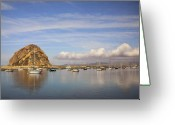 Harbors Greeting Cards - Morro Harbor and Rain Clouds Greeting Card by Sharon Foster
