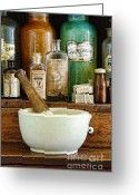 Narcotic Greeting Cards - Mortar and Pestle Greeting Card by Jill Battaglia